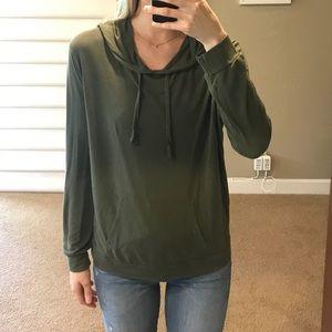 Army green hooded sweatshirt